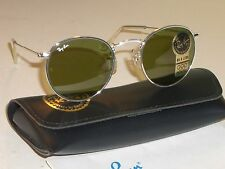 50MM VINTAGE B&L RAY BAN W1866 RB3 TRU GREEN SILVER ROUND AVIATOR SUNGLASSES NEW