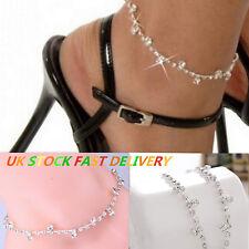 Womens Silver Crystal Heart Anklets Ankle Charm Leg Bracelet Chain Foot Gift UK
