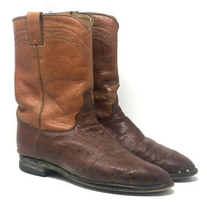 Justin Men's Short Two Tone Brown Cowboy Western Boots Pull On USA Size 9EE
