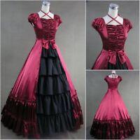 Retro Dress Civil War Southern Belle Satin Ball Gown Black Red Sleeveless Prom