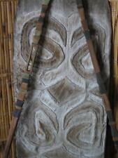 Old Papua New Guinea Asmat Fighting Shield…  with two Highland Spears...