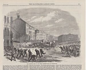 OLD ANTIQUE 1865 PRINT THE ELECTION RIOT IN THE MARKET PLACE AT NOTTINGHAM S1