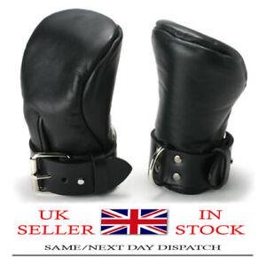 Bondage Fist Mitts Gloves Sheep Black Leather Padded Lined