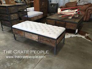 Reclaimed Ottoman Repurposed Crates as Drawers Steel Frame - Custom Furniture