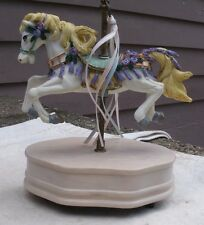 pretty Vintage Carousel Horse Music Box,resin,brass pole,1980s,spins -animal