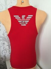EMPORIO ARMANI Large Logo Red Tank Top Sizes S, M, L, XL BNIB WITH TAGS