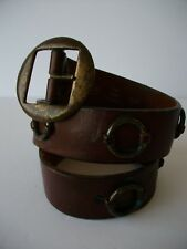 "Justin brown leather metal o ring accent belt distressed retro style 32 29""-33"""