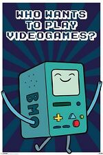 """ADVENTURE TIME POSTER """"BEEMO"""" LICENSED """"BRAND New WHO WANT'S TO PLAY VIDEO GAMES"""