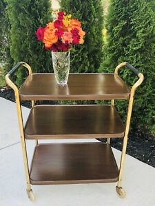 Vintage MCM Cosco Gold Metal Faux Wood 3 Tier Rolling Tea Coffee Bar Cart USA