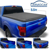 Black 5.5ft Roll Up Truck Bed Tonneau Cover For Ford F-150 5.5' Truck 2015-2018