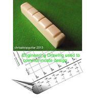 Carved Bone Guitar Nut with Custom Design & Modelling. PN005