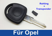 Schlüssel Rohling Gehäuse mit Transponder für OPEL ASTRA VECTRA OMEGA CORSA