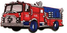 Fire engine truck rescue pumper red retro sewing applique iron-on patch S-560