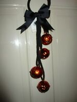 HALLOWEEN  DOOR KNOB HANGER DECOR 15 INCHES LONG WITH 4  ORANGE PUMPKIN  BELLS