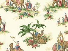 Wallpaper East Indian India Jaipur Style Elephant Camel Palm Trees on Cream