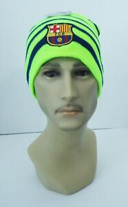FC Barcelona BEANIE Soccer Sports Cap Knit Hat Neon Yellow New