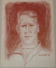 Portrait of Young Man in Red Crayon Drawing-1955-Israel Louis Winarsky