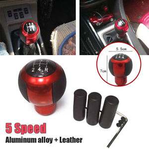 5 Speed Leather Round Ball Universal Car Gear Shift Knob Shifter Lever Adapters