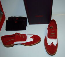 NIB ISAIA NAPOLI mens red white suede wingtie dress shoes size 42 ITALY made big