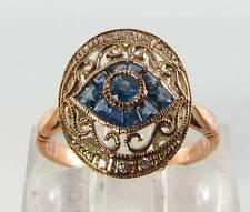 "LOVELY 9CT9K ROSE GOLD SAPPHIRE DIAMOND "" ALL SEEING EYE "" ART DECO INS RING"
