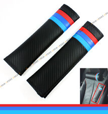 2 x RED BLUE M TECH COLORWAY CARBON CLOTH CUSHION SEAT BELT SHOULDER PAD FOR BMW
