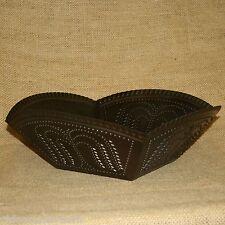 Primitive Willow Tree Metal Basket Tray Bowl Weathered Tin Brown