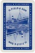 Playing Cards 1 Single Card Old FIELD Fish Merchants FISHING BOAT Advertising 3