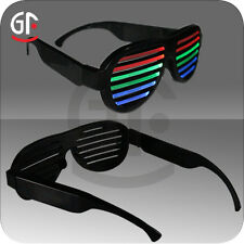 Sound Control Activated Shutter Flashing LED Multicolor Shades Rave Glasses
