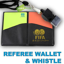 SOCCER REFEREE WALLET & WHISTLE Football Futsal Notebook Red Yellow Card FOX 40