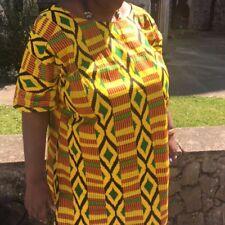 Kente african print Kaftan poncho maxi dress yellow background size 26-30