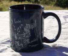 """I Love My Music"" blue ceramic coffee mug Band Choir Teacher Gift EUC"