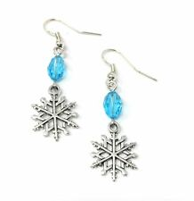 Silver & Blue Bead Christmas Snowflake Drop Dangle Hook Earrings Frozen A