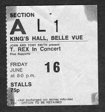 1971 T Rex Concert Ticket Stub Belle Vue UK Electric Warrior Bang A Gong