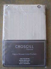 Shower curtain liner, Croscill, polyester, water repellent, cream color, striped