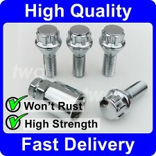 CHROME ALLOY WHEEL LOCKING BOLTS FOR BMW (M14x1.25) 14MM SECURITY LUG NUTS [6F]