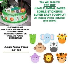 Jungle Animals Faces Edible Cake Stickers Edible Decal Cut Outs Safari Animals