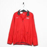 Vintage NIKE Small Logo Zip Up Sweatshirt Red | Medium M