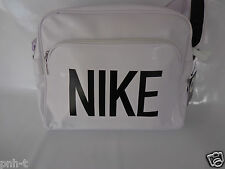 NIKE WHITE BLACK LOG AIRLINE STYLE MESSENGER  BAG RETRO BNWT GYM WORK SCHOOL