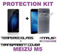 CUSTODIA COVER + PELLICOLA VETRO TEMPERATO MEIZU M5 TPU CASE + TEMPERED GLASS