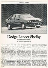 1988 Dodge Lancer Shelby Original Car Review Report Print Article J777
