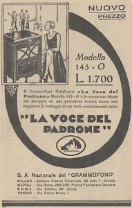 V2338 The Voice Of Owner - Gramophone Ortofonico Mod. 145 - 1930 Advertising
