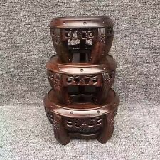 bonsai display stand black hard wood China ebony carved  set 3PC round base