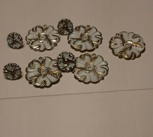 Antique Drawer Pulls, 5 Disks 4 Plugs, White gold approximately 3inch
