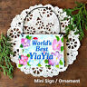 DECO Mini Sign Wood Ornament  Best Yia Yia Hard to Find Grandparent Names Gifts