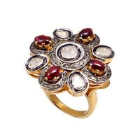 Natural Ruby And Polki Diamond Ring Sterling Silver 925 Victorian Designer Ring