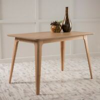 Elsinore Mid-Century Modern Natural Oak Finish Faux Wood Dining Table