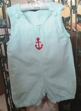 Lollipop Laundry Boutique Mint Green Polka dotted Anchor Romper Girl's sz 3T EUC