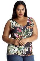 New Ladies Plus Size Vest Womens Camisole Tank Top Jungle Floral Print Scallop