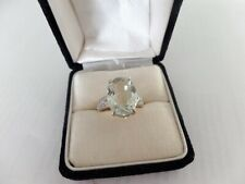 GREEN AMETHYST AND DIAMOND 10K SOLID YELLOW GOLD RING