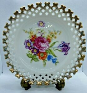 SELECTA JAPAN Fine Bone China Floral with hand painted gold trim Lattice 16cm